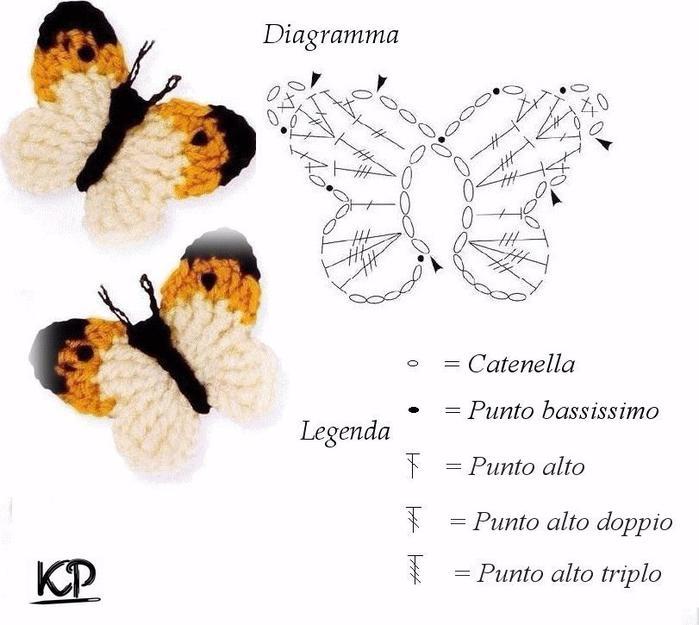 Бабочка вязание схема 45