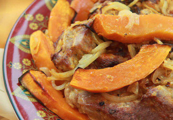 Рецепт мясо запеченное с тыквой